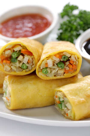 homemade egg rolls, vegetarian food photo