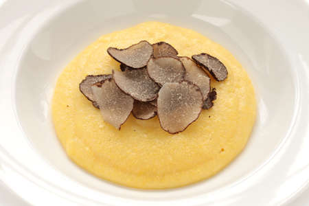 white truffle: polenta with truffles, italian cuisine