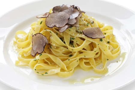 tagliatelle with truffles, italian pasta dish photo
