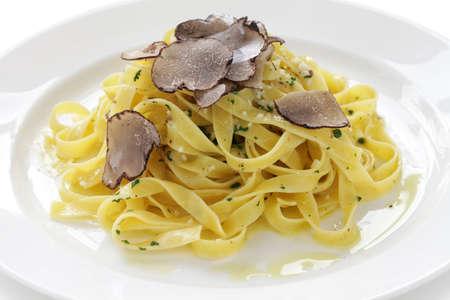 white truffle: tagliatelle with truffles, italian pasta dish