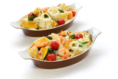 seafood and vegetable gratin photo
