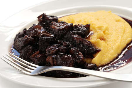 red braised: beef stew with polenta