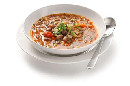roman beans: homemade minestrone soup, italian cuisine