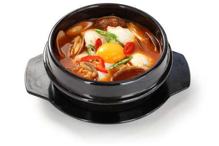 korean food: sundubu jjigae, korean soft tofu stew