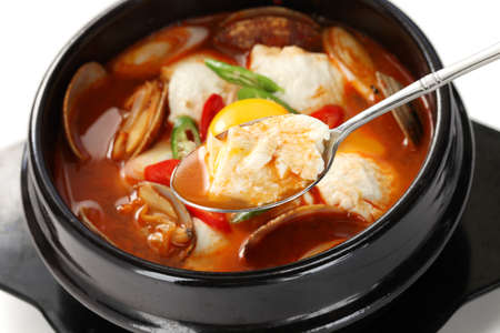 sundubu jjigae, korean soft tofu stew photo