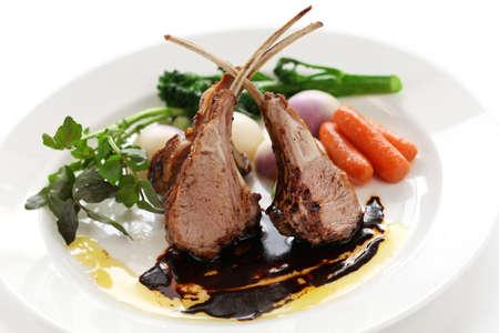 lamb chop: roasted lamb rib chops Stock Photo
