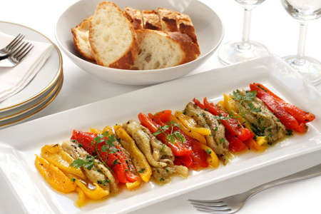 marinate: escalivada, grilled marinated vegetables, spanish cuisine