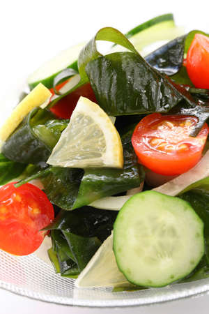 alga: wakame seaweed salad, low calorie vegetarian food