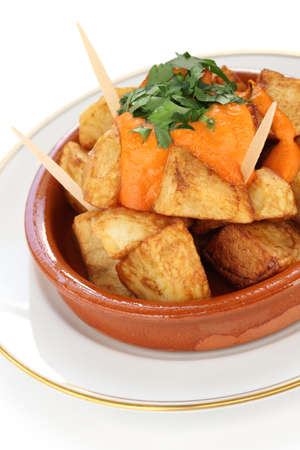 patatas bravas, fried potatoes with a spicy tomato sauce, spanish tapas photo