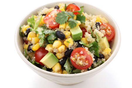 corn salad: quinoa salad, vegetarian food Stock Photo