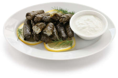dolma, stuffed grape leaves, turkish and greek cuisine Stock Photo