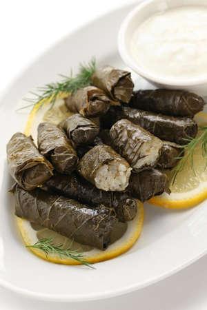 greek food: dolma, stuffed grape leaves, turkish and greek cuisine Stock Photo
