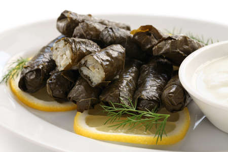 dolma, stuffed grape leaves, turkish and greek cuisine photo
