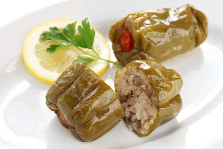 biber dolmasi, turkish food, stuffed peppers with rice photo
