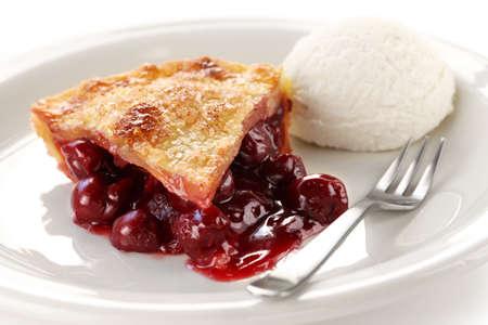 sour cherry: cherry pie with ice cream
