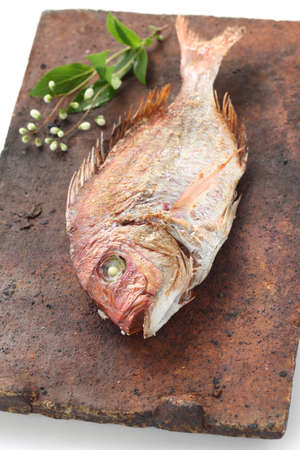 a red sea bream grilled with salt, tai no shioyaki, japanese cuisine Stock Photo - 18640703