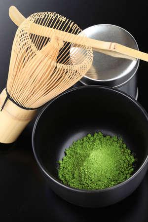 maccha: matcha, powdered green tea, way of tea, japanese tea ceremony image Stock Photo