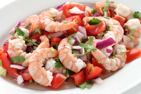 american cuisine: shrimp ceviche , prawn ceviche, seafood marinated salad Stock Photo