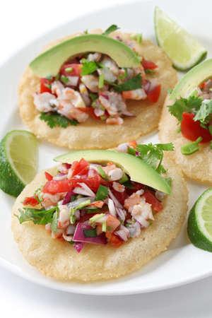 tacos: tostadas de ceviche, mexican food