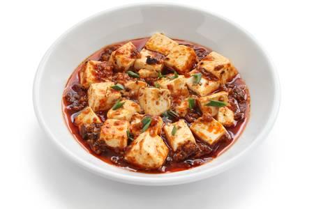 mapo tofu estilo sichuan, comida china Foto de archivo