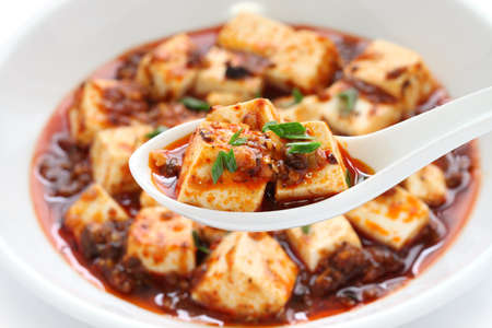 china cuisine: mapo tofu, sichuan style, chinese food Stock Photo
