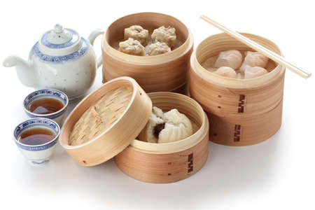 china cuisine: yumcha, dim sum in bamboo steamer, chinese cuisine
