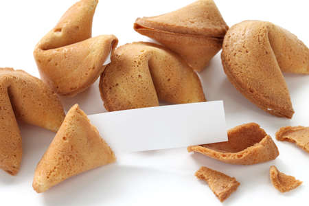 fortune cookie with blank message on white background photo