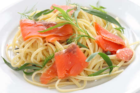 tarragon: smoked salmon pasta Stock Photo