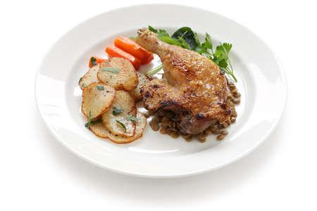 roast duck: duck confit, french bistro dish
