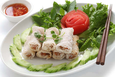 person appetizer: net spring rolls, chao gio re, vietnamese cuisine