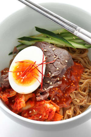 bibim naengmyeon, korean cold noodles photo