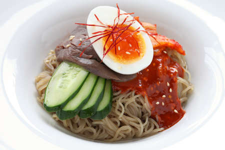 buckwheat noodle: bibim naengmyeon, korean cold noodles Stock Photo