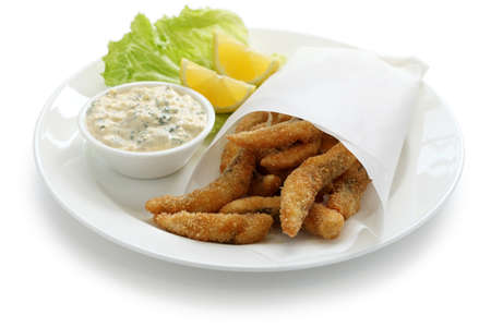 battered: homemade fried fish fingers with tartar sauce