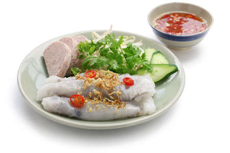 vietnamese food: banh cuon, vietnamese steamed rice noodle roll, vietnamese popular breakfast food