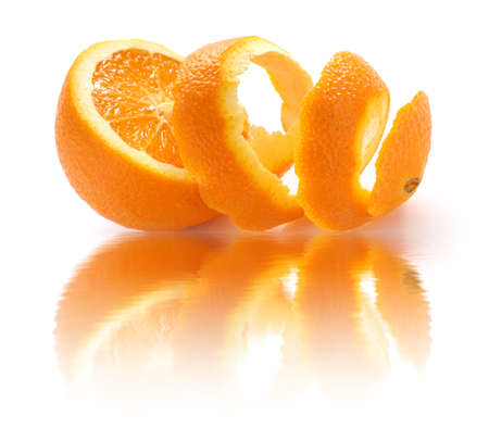 peeled orange and reflection photo