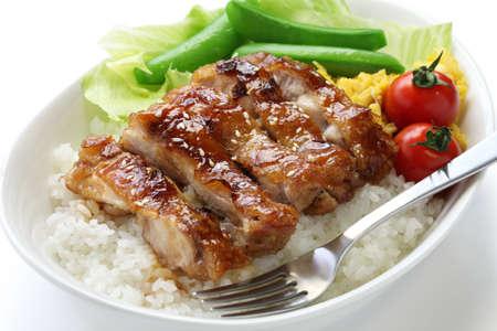 teriyaki chicken on rice, japanese cuisine photo