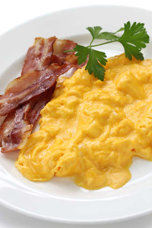 omelet: scrambled eggs with crispy bacon
