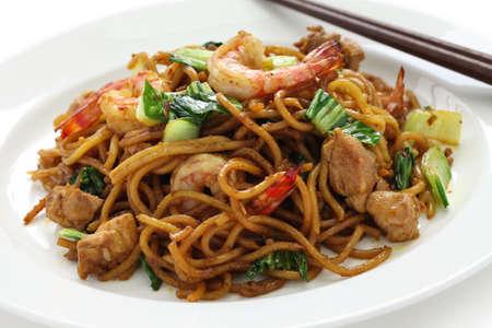 ミーゴレン、ミーゴレン、インドネシア料理、チキン、エビ、チンゲン菜と焼きそば