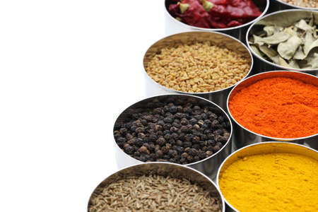 indian spices collection on white background photo