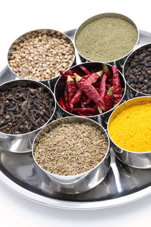indian spices collection in metal bowls photo