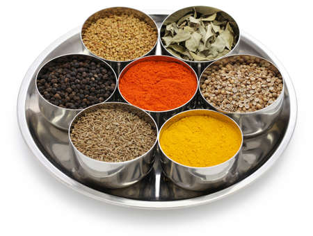 indian spices collection in metal bowls Stock Photo