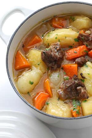 casserole: irish stew in enamel pot