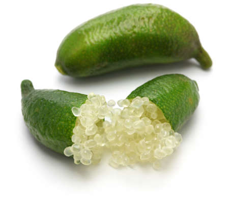 caviar: finger lime, micro citrus on white background
