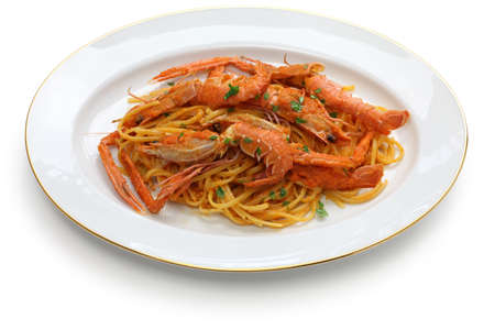 scampi pasta with tomato cream sauce photo