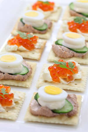 assorted canape, homemade party food photo