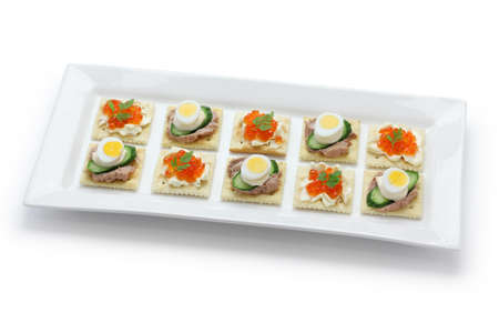 party with food: assorted canape, homemade party food