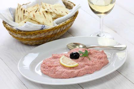 roe: taramasalata, cod roe dip, Greek food