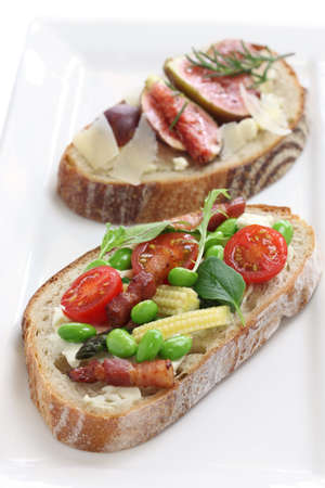 tartine, open sandwich isolated on white background photo