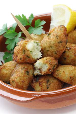 cod fish: salt cod  bacalhau,bacalao  fritters, croquettes