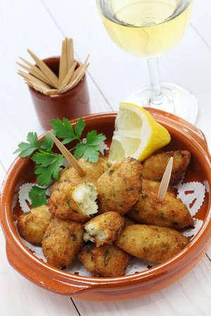 cake balls: salt cod  bacalhau,bacalao  fritters, croquettes